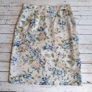 VINTAGE Hand Sewn Linen Loook Floral Skirt M